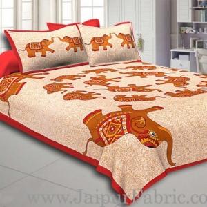 Maroon Border Elephant in Round Shape Cotton Double Bedsheet