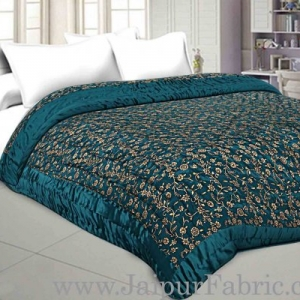 Jaipuri Double Quilt/Razai  Dark Green Golden Print