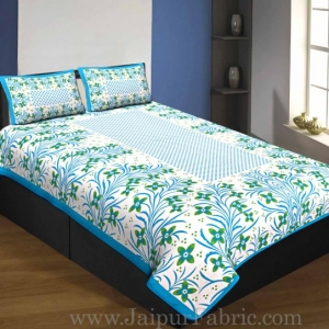 Single Bedsheet Pure Cotton firozi Border with Flower and Leaf Pattern
