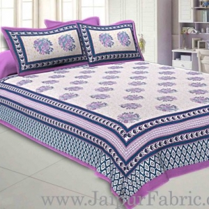 Double bedsheet Purple Border With Big Boota  Print Fine Cotton With Two Pillow Cover