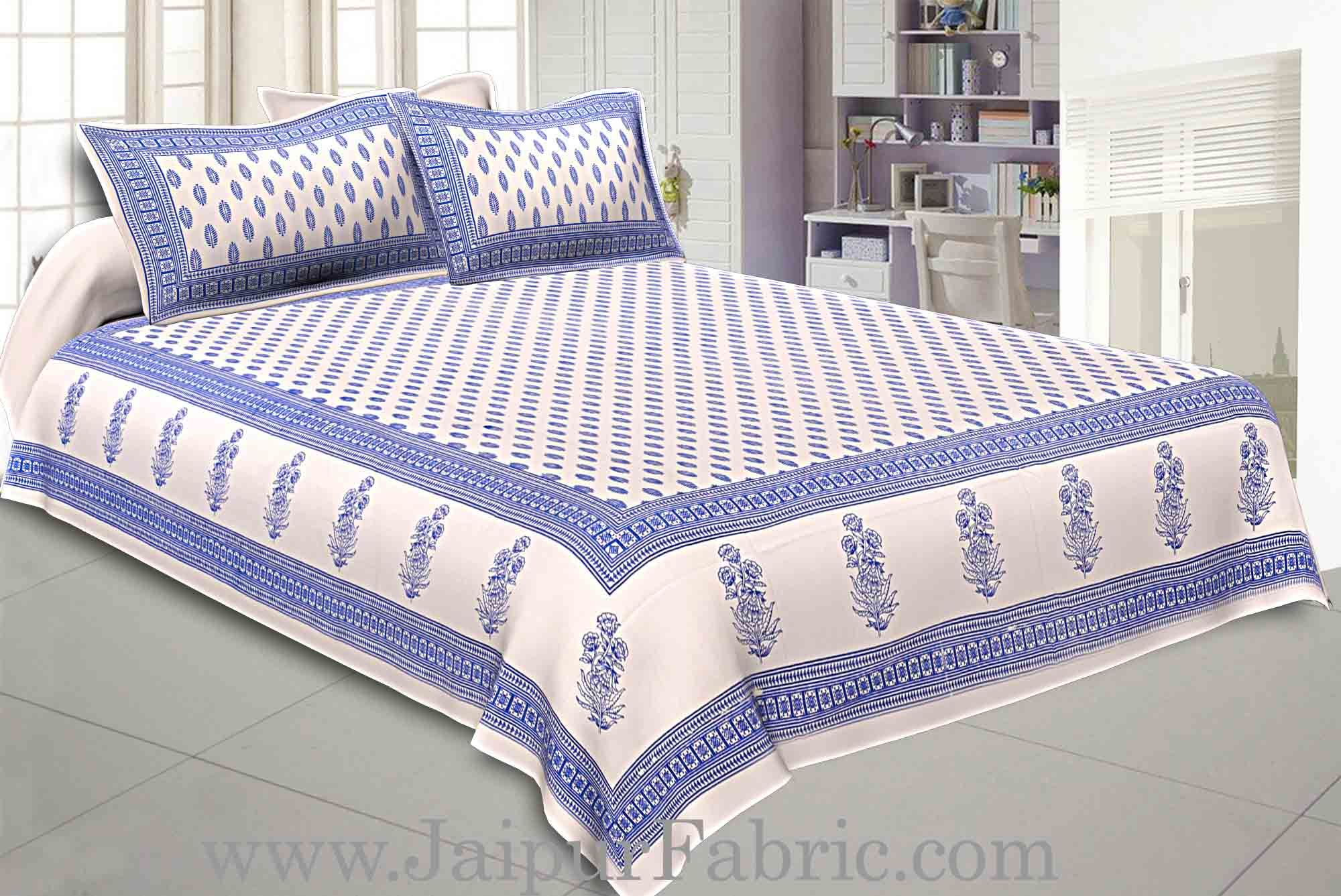 Double Bedsheet Blue Border White Base Small Leaf Print  With Two Pillow Cover