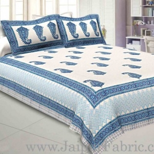 Double Bed Sheet White Base With Kadi Print Blue Rajasthani Buta Hand Block Print Super Fine  Cotton
