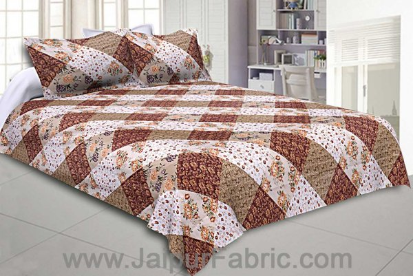 Twill Geometric Double Bedsheet Brown White Multi Floral
