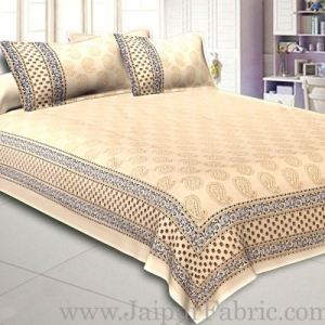 Double Cotton Bed Sheet  Cream  Base With Golden hand Block Kerry  Print