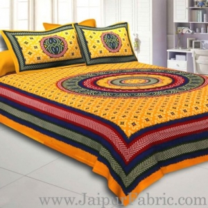 Yellow Border Bandhej and Rangoli Print Cotton Double Bed Sheet With Two Pillow Cover