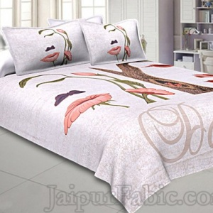 Illusion Magic Peach 240 TC Double Bedsheet