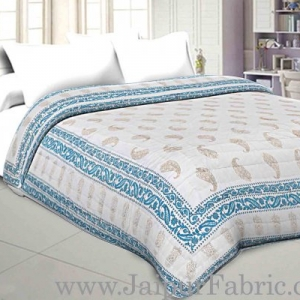 Jaipuri Printed Double Bed Razai Golden  Blue White base with Paisley pattern