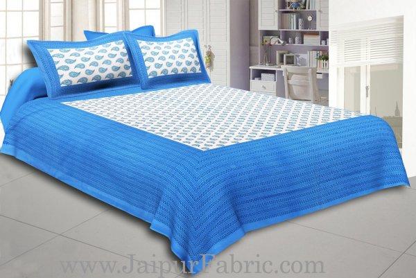 Sea Green Border Cream Base Kerry Boota Print Cotton Double Bed Sheet