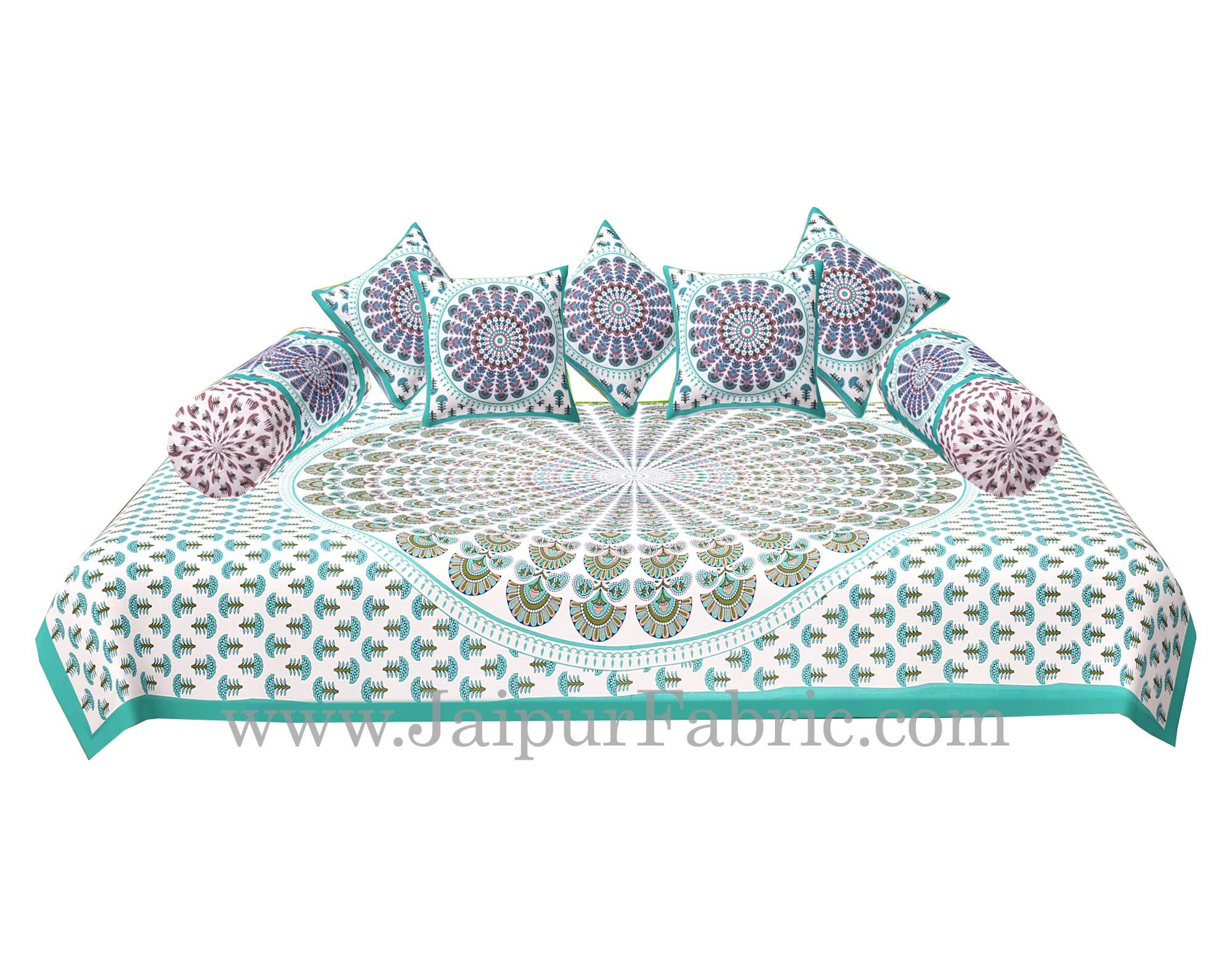 Sea Green  Border Cream Base Mandala Print Diwan Set