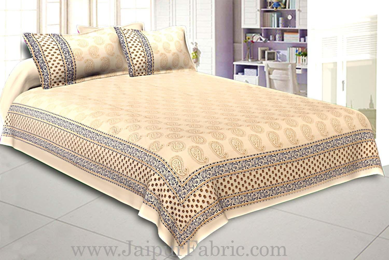 Double Cotton Bed Sheet  Cream  Base With Golden hand Block Leaf  Print