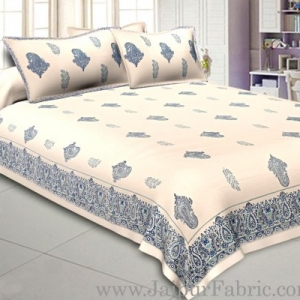 Smooth Cotton Double Bedsheet Paisley Design Print With Two Pillow Cover