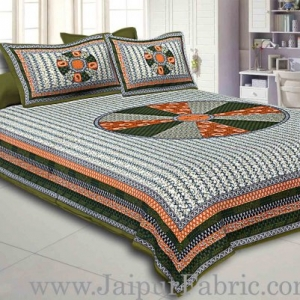 Green Border Cream Base With Large Circle Print Cotton Double Bedsheet