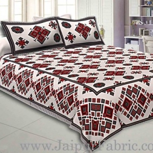 Double Bedsheet  Light Red And Grey  Border  Fine Cotton  Rangoli  Print
