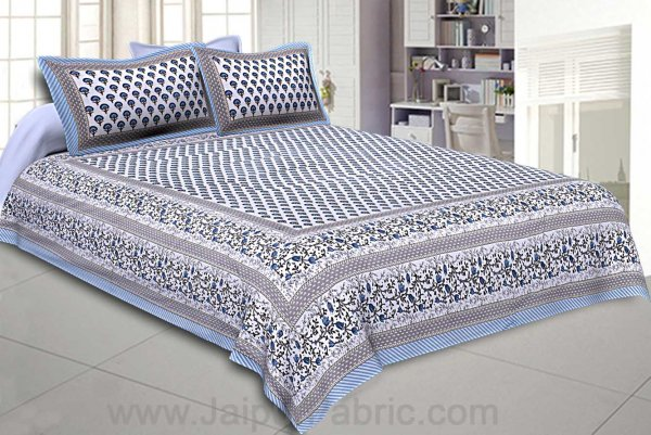 Multi Blue Floral Double Bedsheet with Two Pillow Cover