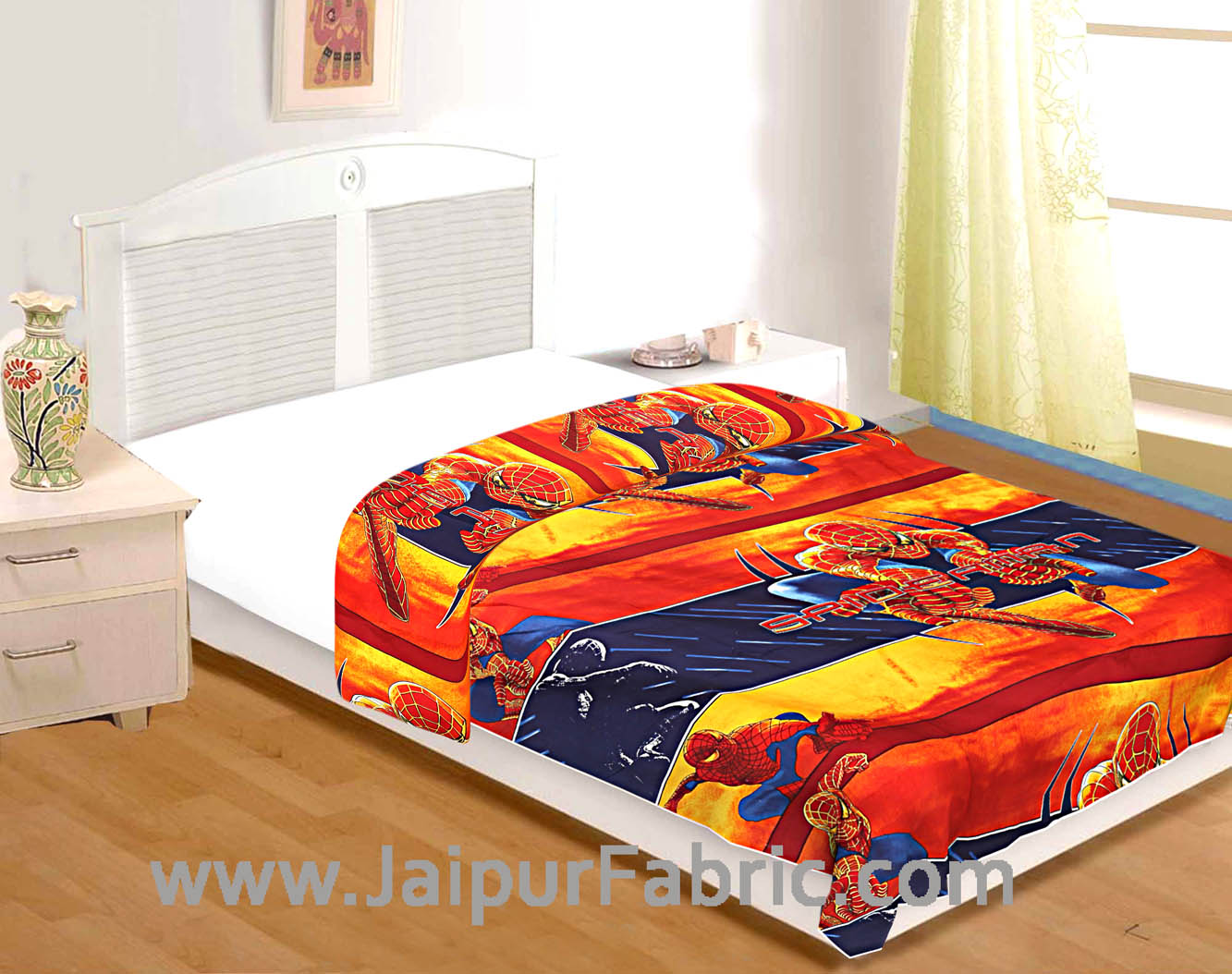 Kids Superhero Spiderman Print Single Bed Riversible Ac Blanket