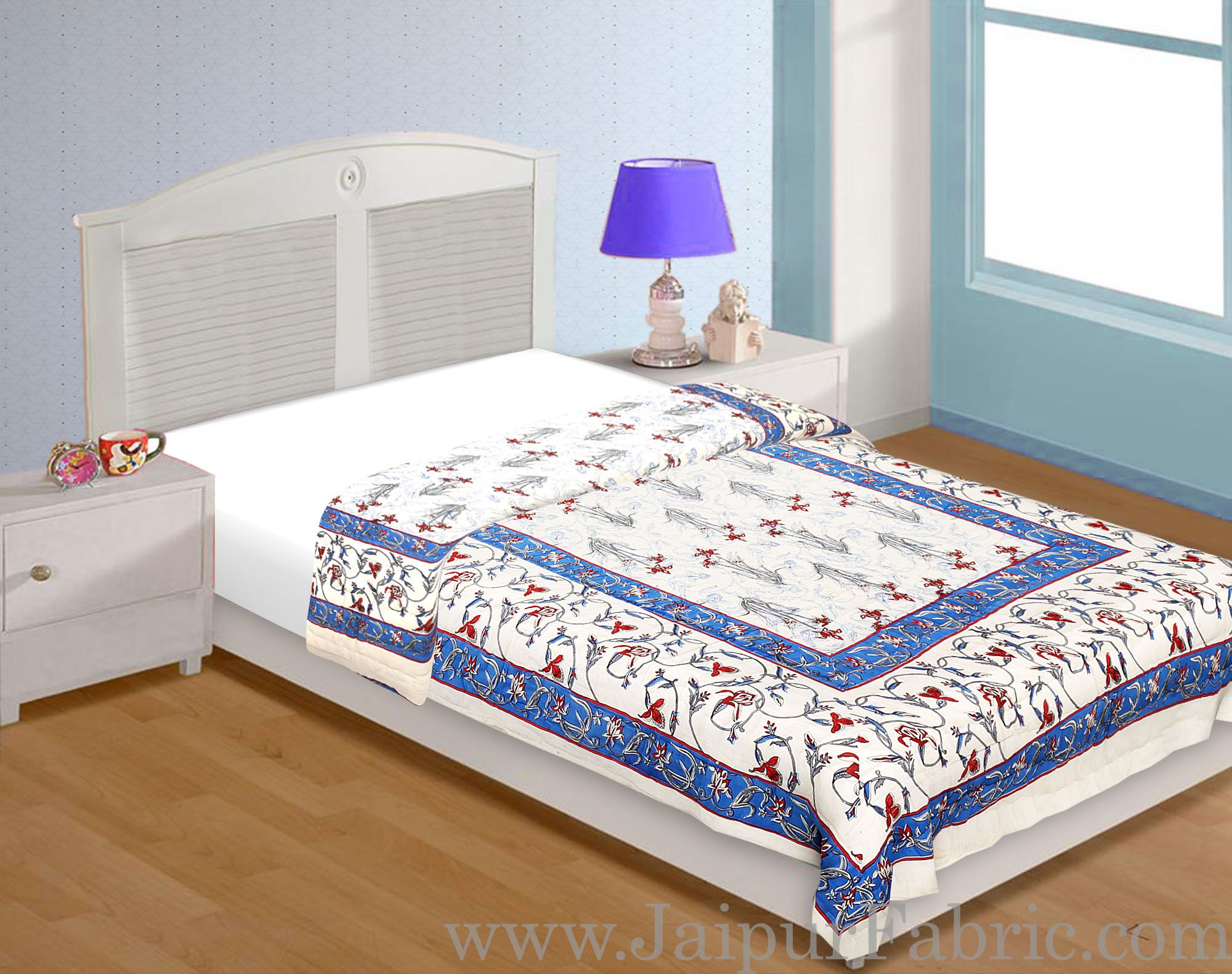 Cream Base Sky Blue  Border  Bud And Tree Both Side Printed  Cotton Single Quilt