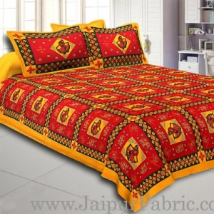 Yellow Border Red Base Gujri Dance In Square Pattern Cotton Double Bed Sheet