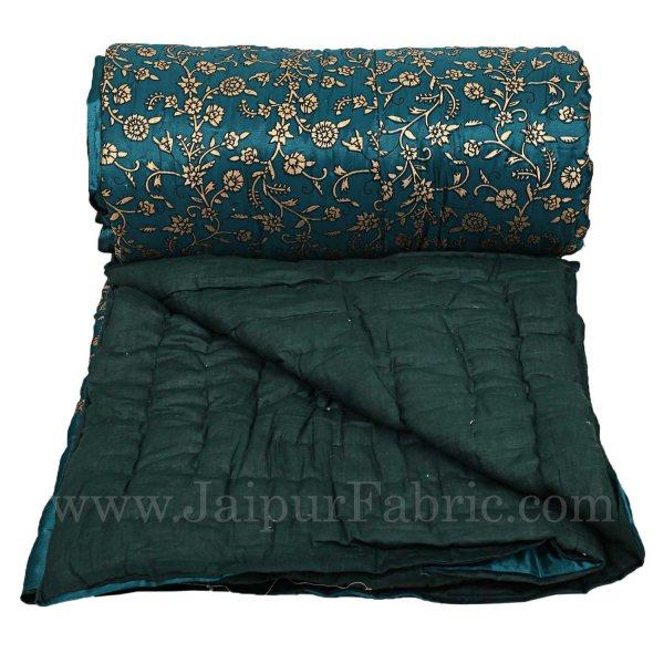 Jaipuri Double Quilt/Razai  Dark Green Golden Print