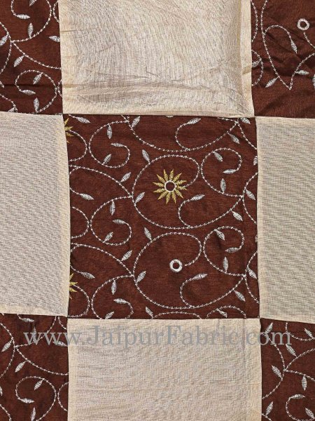 Dark Chocolate And Cream Check With Embroidery Silk festive Double Bed sheet
