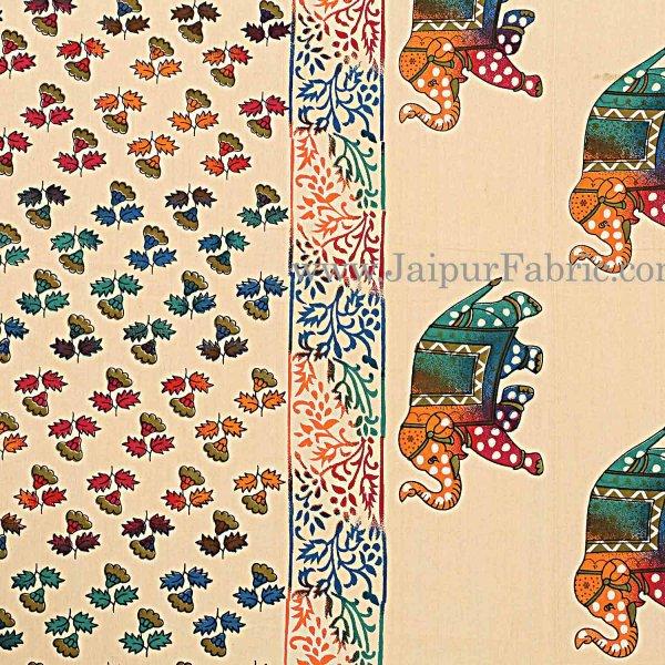 Cream Base Satrangi Gold Print With Elephant Super Fine Cotton Double Bedsheet