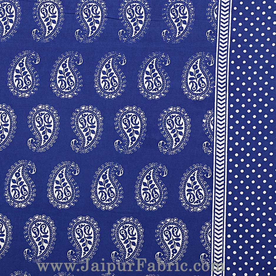Paisley Double Bedsheet Blue Color Fine Cotton With Two Pillow covers