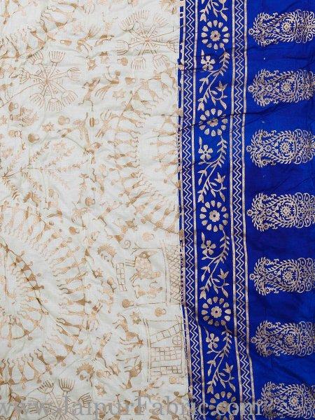 Light Blue  Cream Base  With Golden Print Figure Print Super Fine Cotton Voile(Mulmul) Both Side Printed Cotton Double Bed Quilt