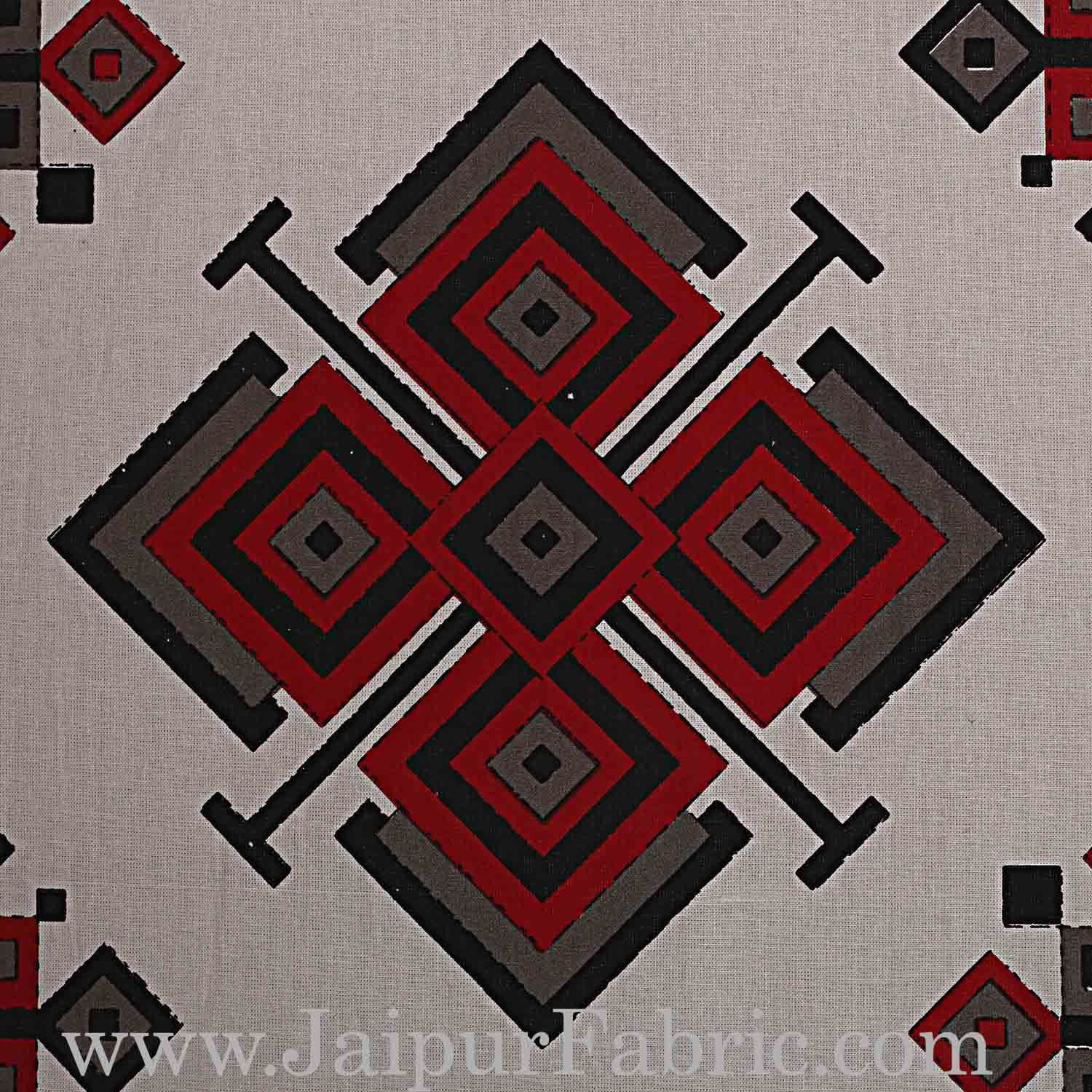 Double Bedsheet  Light Red And Grey  Border  Fine Cotton  Rangoli  Print