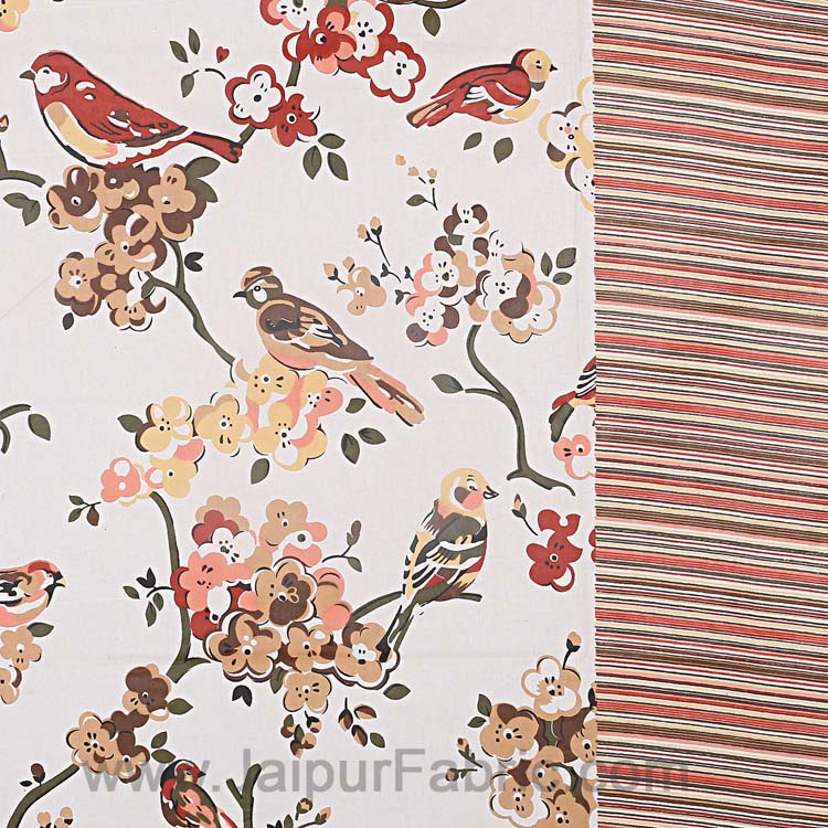 Double Bedsheet Aflush Colorful Sparrows  Design Print
