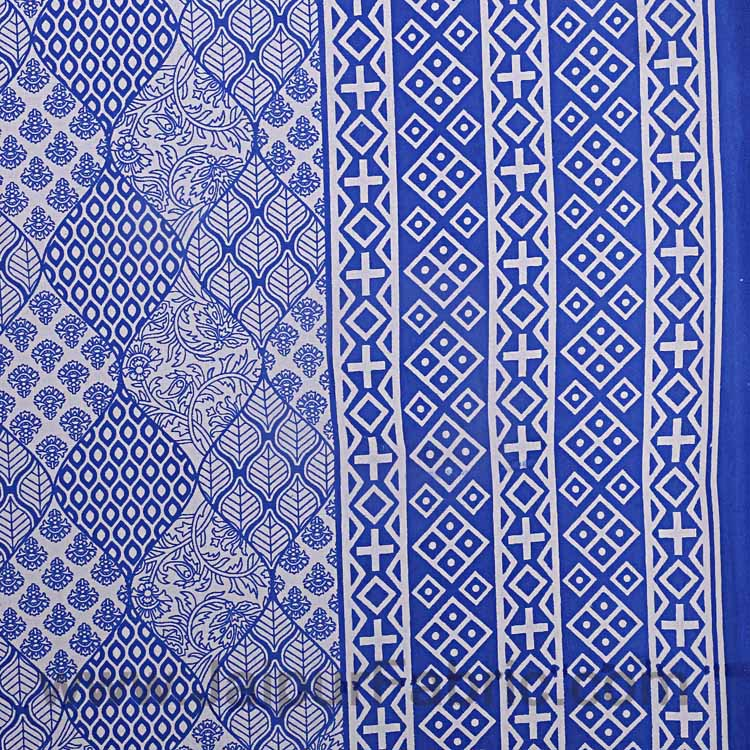 Double Bedsheet Big Bell  Print Blue Border Fine Cotton