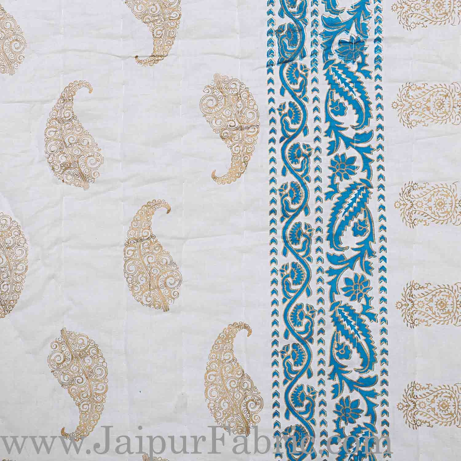 Jaipuri Printed Double Bed Razai Golden  Blue White base with Paisley pattern