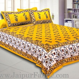 Yellow And Cream Border Yellow Base With  Small Mughal Print Cotton Double Bedsheet