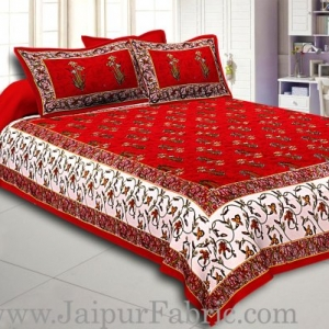Maroon And Cream Border Maroon Base With  Small Mughal Print Cotton Double Bedsheet