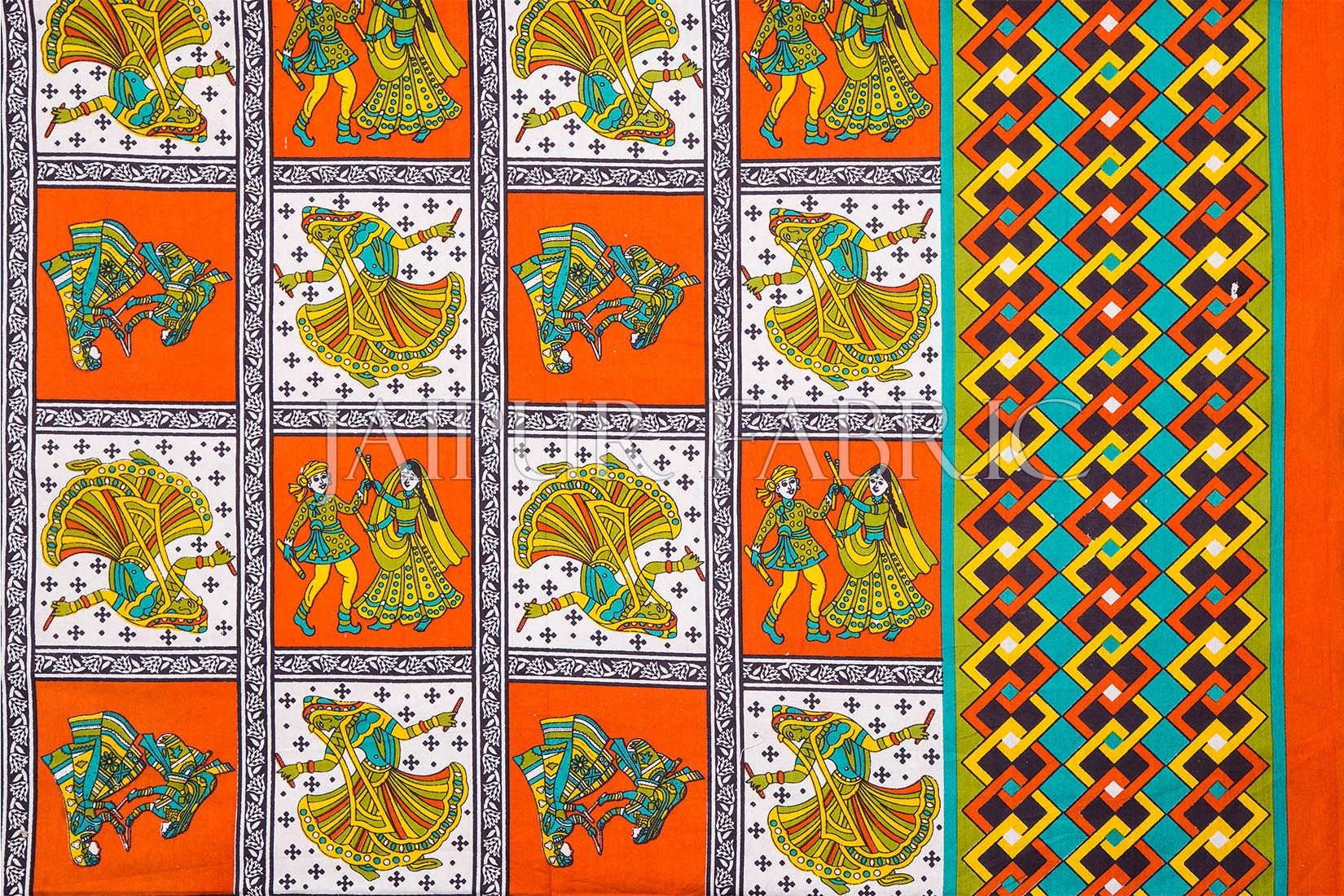 Orange Color Jaipuri Folk Dance Print Cotton Double Bed Sheet