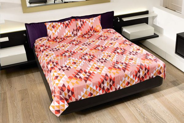 Orange Geometry Design Cotton Double Bed Sheet