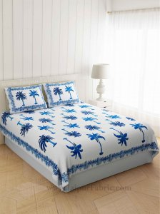 Gorgeous Glaze Cotton Blue Palms Double Bedsheet