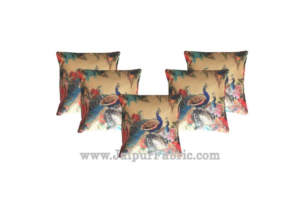 Jute Cushion Cover Digital Peacocks