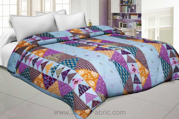Olive Twill Cotton  Double Bed With Colorful Patchwork Design Comforter
