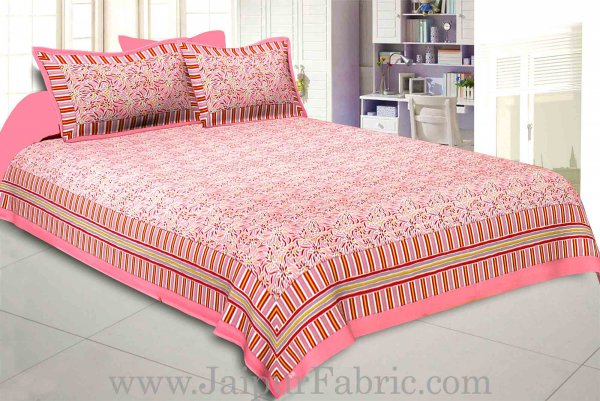Flamingo Pink Abstract Double Bedsheet