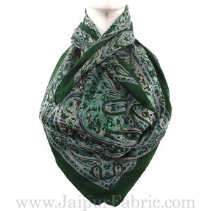 Silk Scarf Green Handmade Look