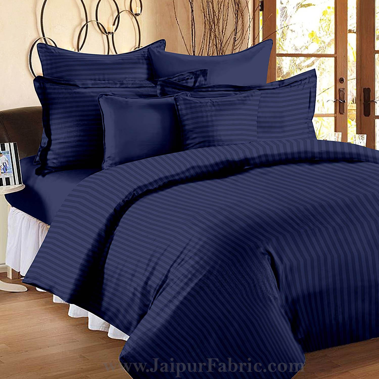 Navy Blue Self Design 300 TC King Size Pure Cotton Satin Slumber Sheet for Double Bed with 2 pillow covers