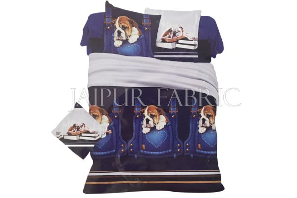 Blue Base Brown Dog Print Single Bed Sheet