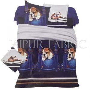 Blue Base Brown Dog Print Single Bed Sheet