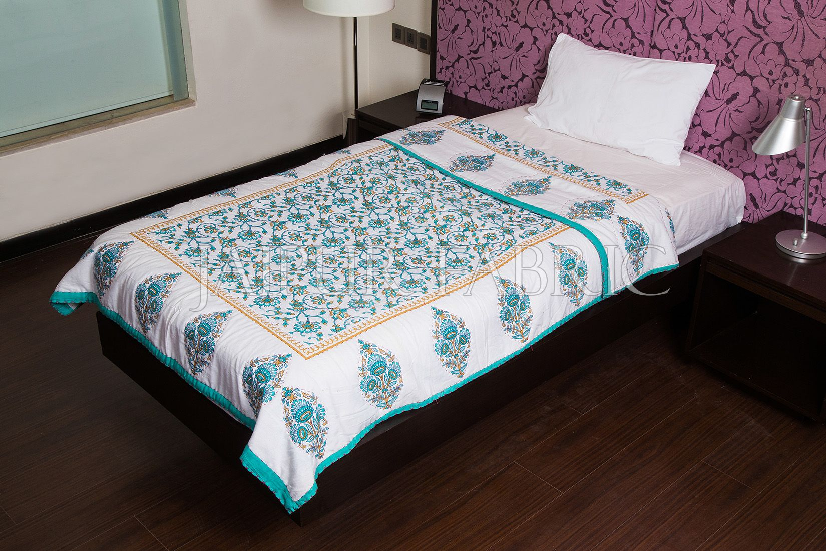 Green Jaipuri Print Cotton AC Quilt Single Bed Quilt