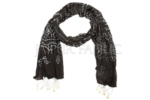 Black Bandhej Mirror and Beads Work Stole