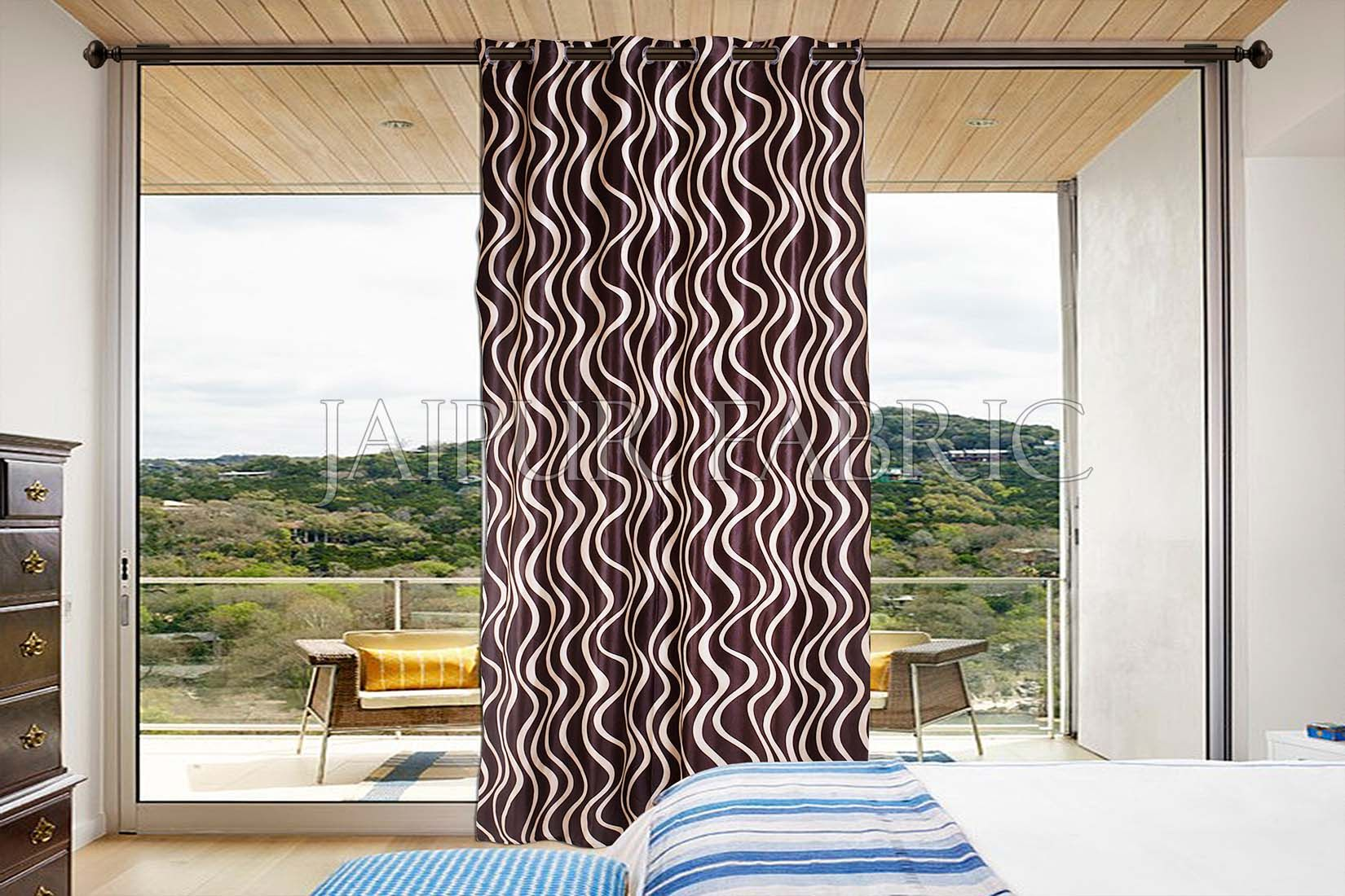 Brown Printed Polyester Curtain