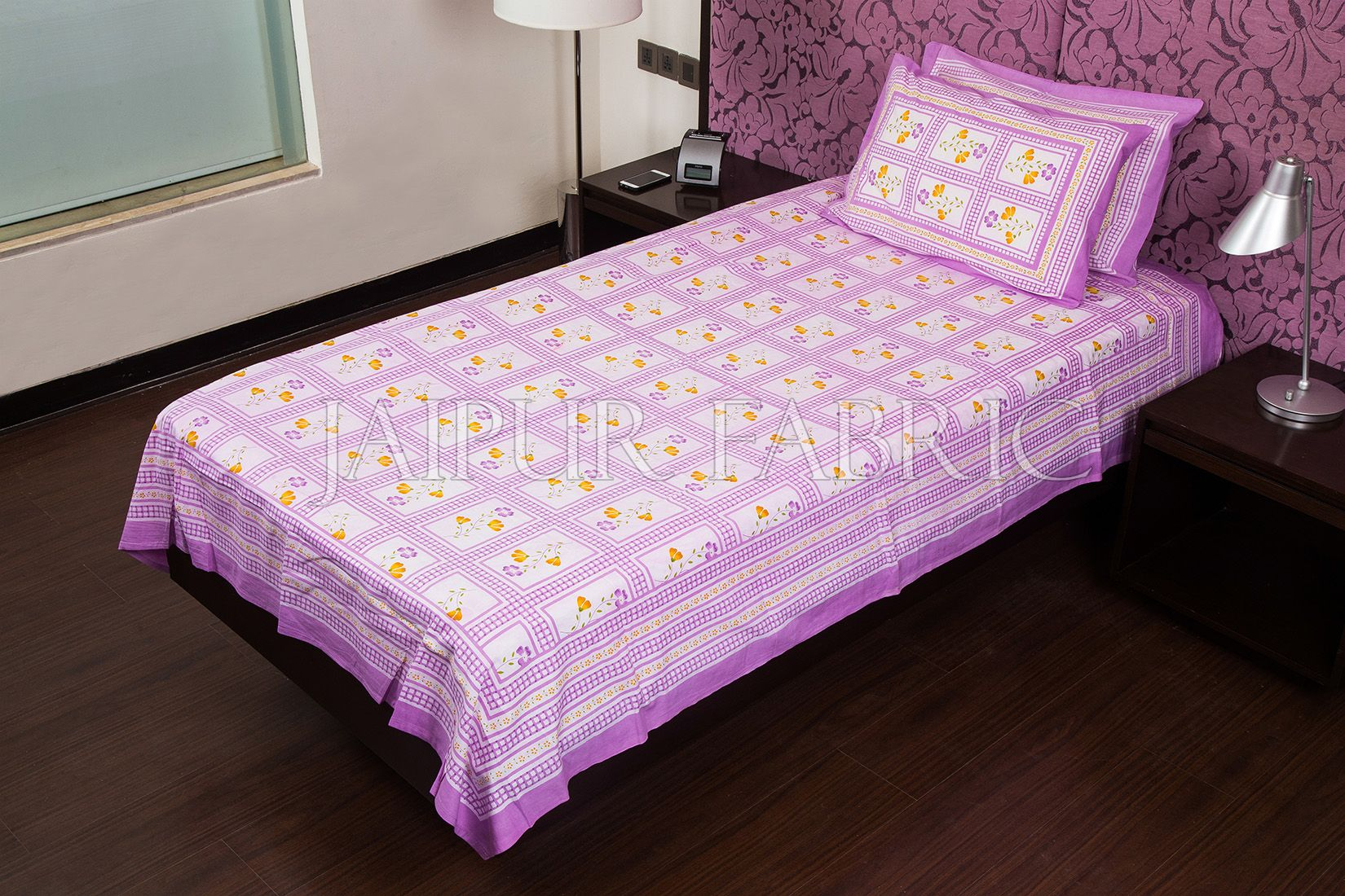 Purple Color White Base Floral Print  Single Bed Sheet