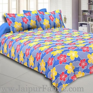 Blue Base Yellow and Red Flower Double Bed Sheet