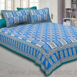 Double Bedsheet Sky Blue Fine Cotton Checkerd Design