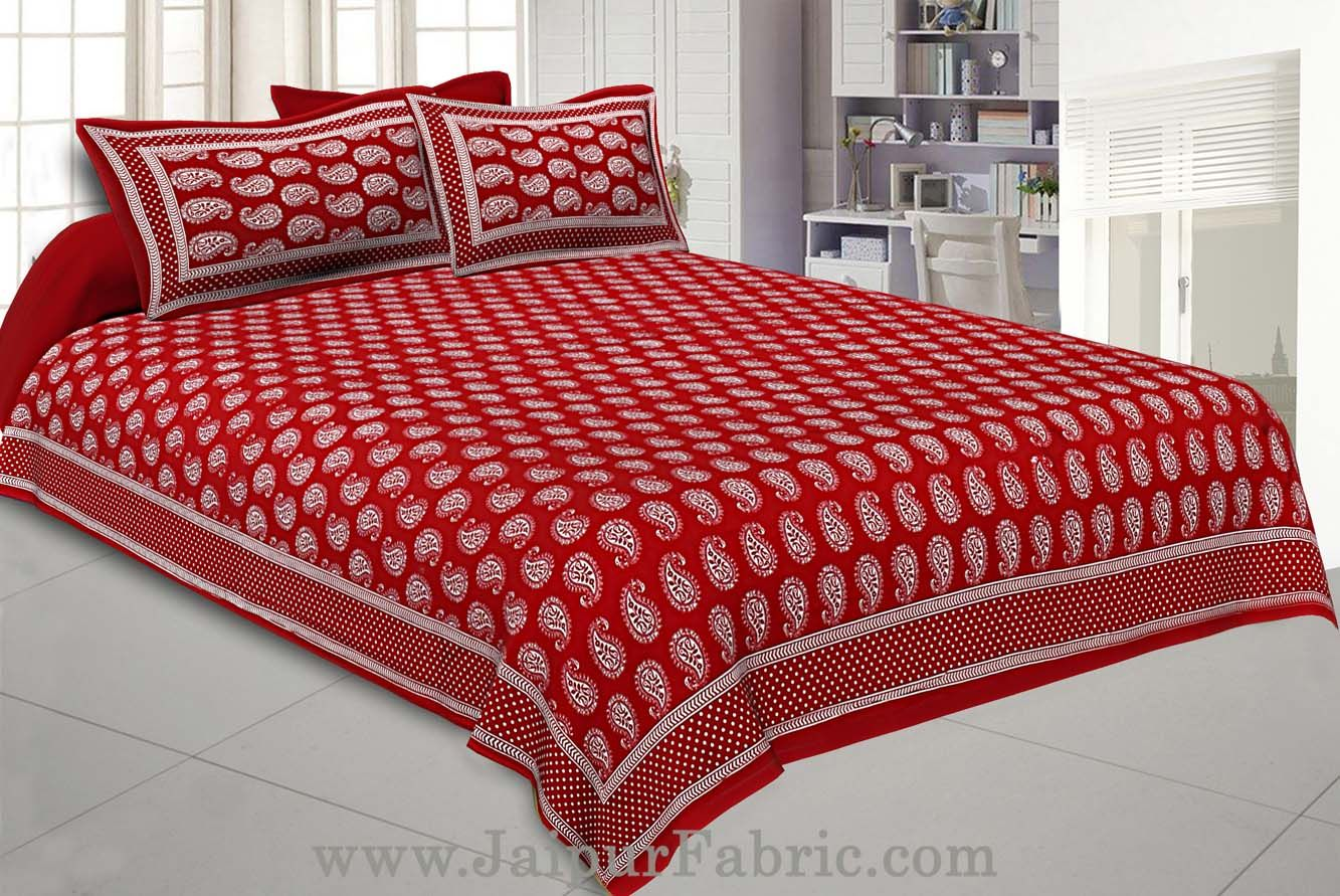 Paisley Double Bedsheet Red Color Fine Cotton With Two Pillow covers
