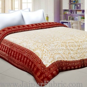 Maroon Border Cream Base  With Golden Print Figure Print Super Fine Cotton Voile(Mulmul) Both Side Printed Cotton Double Bed Quilt